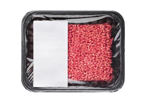 Plastic tray with frew raw beef pork lamb mince