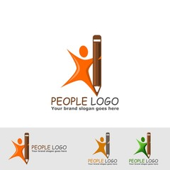 creative people with pencil logo