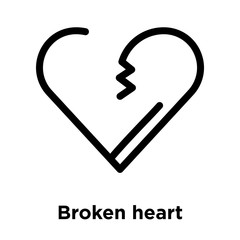 Broken heart icon vector sign and symbol isolated on white background, Broken heart logo concept