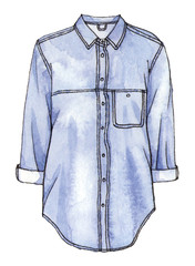 watercolor hand painting fashion denim shirt. isolated element