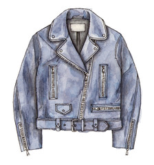 watercolor hand painting fashion leather jacket. isolated elements