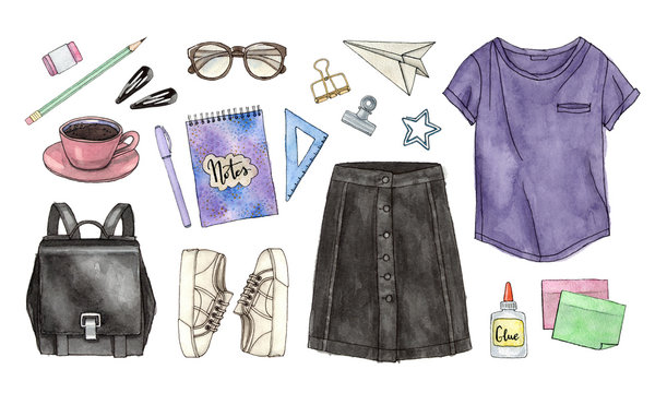 back to school. hand painted watercolor fashion illustration of clothes, accessories and stationery. isolated elements.