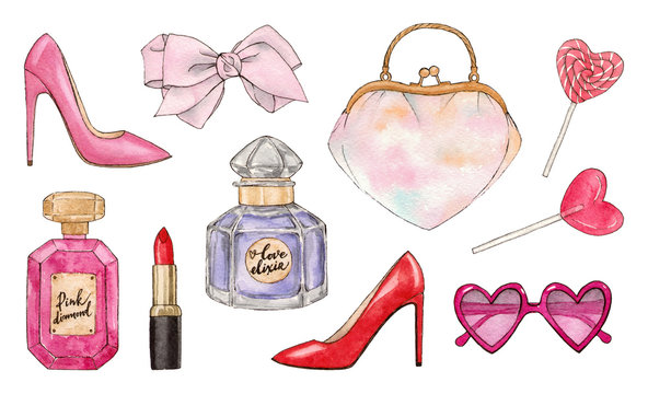 hand painting watercolor illustration. beauty and fashion collection accessories. isolated elements.