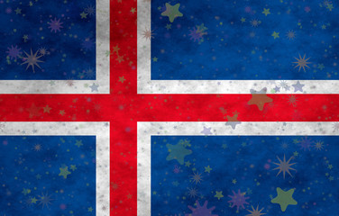 Illustration of an Icelandic flag with small stars scattered around