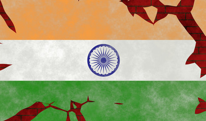 Illustration of an Indian Flag, imitating of a painting on the old wall with cracks