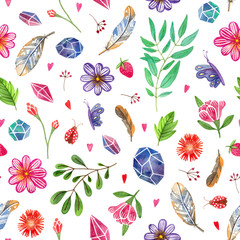 watercolor hand painted herbal, gemstones, flowers, insects and feathers. seamless pattern with white background