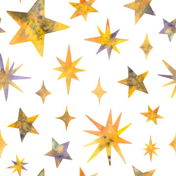 watercolor stars. seamless pattern on a white background