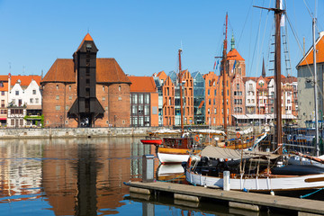 Beautiful day  of Motlawa river embankment in historical part of Gdansk
