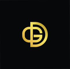 Initial Gold letter GD DB Logo Design with black Background Vector Illustration Template