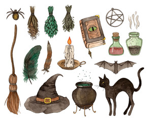 watercolor sketch halloween set. hand painting isolated elements.