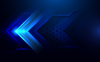 Abstract dark blue Arrows and hexagons background. Futuristic and technology concept