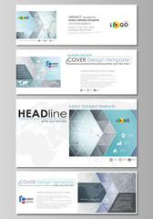 Social media and email headers set, modern banners. Abstract design template, vector layouts in popular sizes. Chemistry pattern, connecting lines and dots, molecule structure, medical DNA research.