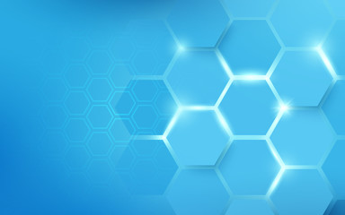 Wall Mural - Abstract hexagons pattern blue. Technology concept background
