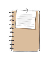 brown notebook and notepaper hand drawn vector art illustration