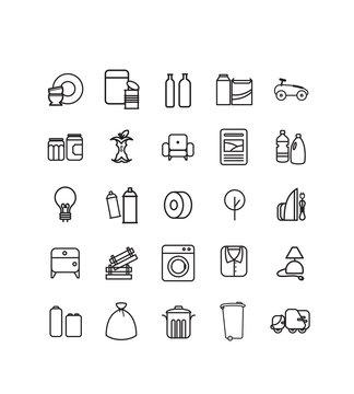 série de pictogrammes, icônes vectoriels sur le thème des déchets