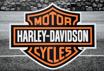 "Logo of U.S. motorcycle company Harley-Davidson is pictured at the ""Hamburg Harley Days"" in Hamburg"