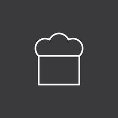 line chef hat icon on dark background