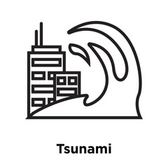Tsunami icon vector sign and symbol isolated on white background, Tsunami logo concept