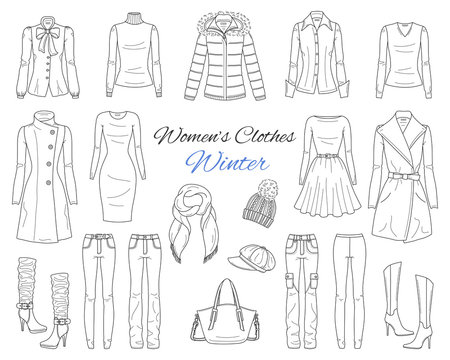 Women's clothes collection. Winter outfit. Vector sketch illustration.