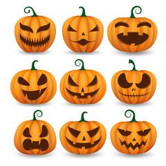 Set of halloween pumpkins, funny faces.