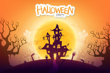Halloween night background with creepy castle and zombie's hand under the moonlight.
