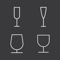 line wine glass icons set on dark background