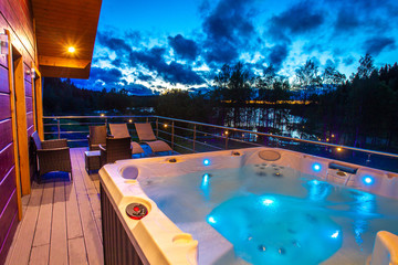 View from the house to the pool. Hydromassage. Pool on the balcony of the cottage. Jacuzzi on the...