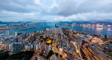 Panorama landscape of Hong Kong and Kowloon city from the sky