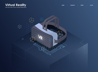 Augmented reality concept isometric banner. Flat design template for mobile app and website. Virtual reality isometric illustration.