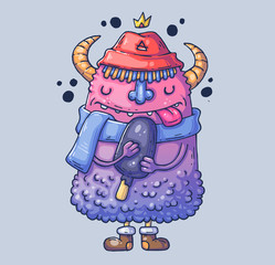 Funny monster in a hat with horns. Monster with ice cream. Cartoon illustration for print and web. Character in the modern graphic style.