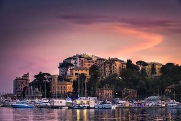 North Italy sea village sunset vignette purple sky - Rapallo - Genoa -italian riviera