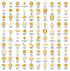 Crypto currency blockchain assets vector logo set golden isolated on white background - illustration