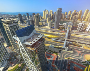 Dubai skyscrapers from above. Futuristic skyline. Dubai Marina aerial view.