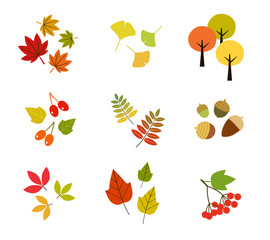 秋のイラストアイコンセット