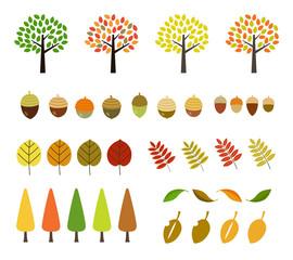 秋の木・紅葉|イラストセット
