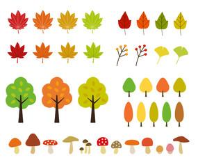 秋の植物・紅葉|イラストセット