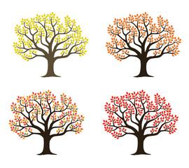 木|紅葉のイラストセット