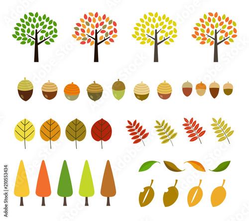 秋の木紅葉イラストセットfotoliacom の ストック画像と
