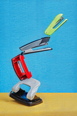 Balancing tower of staplers and hole punchers in low gravity.