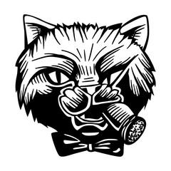 Gangster Mafia Feline Cat Criminal Character Portrait Vector Black White