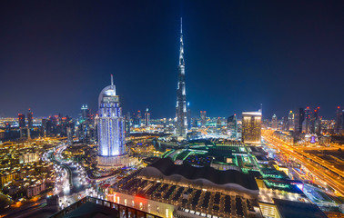 Fototapete - Amazing night dubai downtown skyline, Dubai, Emirates