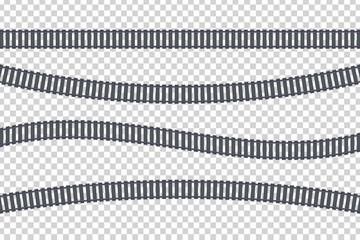 Vector set of realistic isolated of rails for decoration and covering on the transparent background. Concept of train transportation, metro, logistics and railroad.