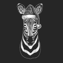 Zebra. Christmas, new year celebration. Santa Claus winter hat. Xmas headdress.