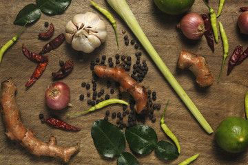 Preparation vegetables and herb on wooden table, cooking wallpaper