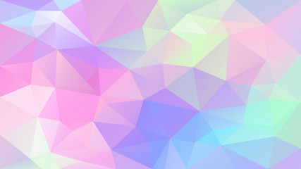 vector abstract irregular polygonal background - triangle low poly pattern - cute holographic color - pink, blue, purple, violet, green, yellow