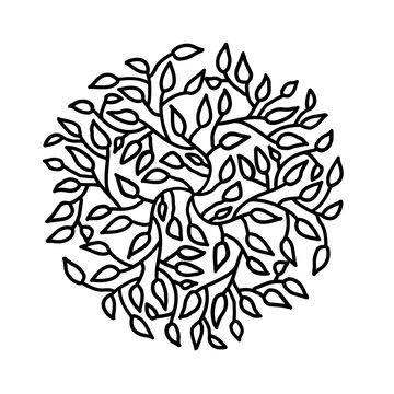 Mandala circle pattern. Round tree leaves ornament. Vector illustration.