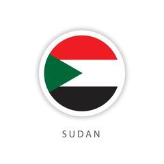 Sudan Circle Flag Vector Template Design Illustrator