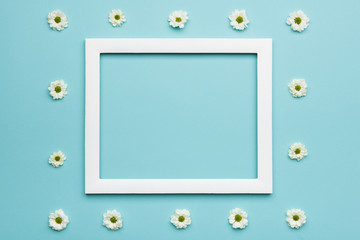 Happy Father's day Pastel Blue Candy Colours Background. Flat lay minimalism greeting card with picture frame mock up.