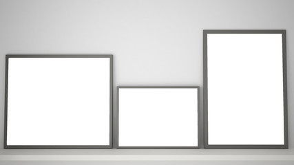 Mock up template with copy space, three gray frames on book shelf or desk, white background idea interior design