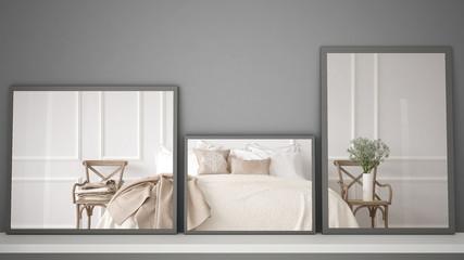 Three modern mirrors on shelf or desk reflecting interior design scene, classic vintage bedroom, minimalist white architecture interior design